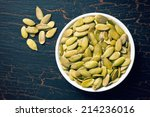 top view of pumkin seeds in... | Shutterstock . vector #214236016