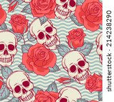 seamless pattern with skull and ... | Shutterstock .eps vector #214238290
