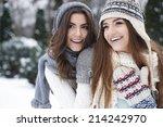 portrait of lovely girls... | Shutterstock . vector #214242970