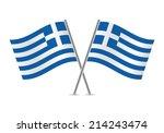 greek flags. vector... | Shutterstock .eps vector #214243474