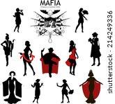 set of female silhouettes retro ... | Shutterstock .eps vector #214249336