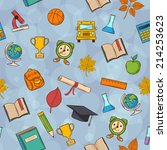 seamless pattern back to school ... | Shutterstock .eps vector #214253623