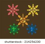 nordic geometric snowflakes...   Shutterstock .eps vector #214256230