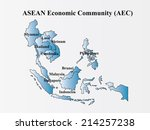 asian economic community ... | Shutterstock .eps vector #214257238