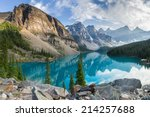 Stock photo moraine lake with the rocky mountains panorama in the banff canada 214257688