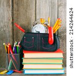 books and school tools on a... | Shutterstock . vector #214264624