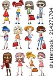 cartoon fashionable girls  | Shutterstock .eps vector #214271704