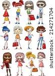 cartoon fashionable girls  | Shutterstock .eps vector #214271704