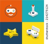 vector illustration gamepad set | Shutterstock .eps vector #214275124