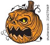 pumpkin head cartoon... | Shutterstock . vector #214275469