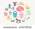 cute greetings card with icons... | Shutterstock .eps vector #214278310