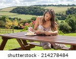 young attractive woman  reading ... | Shutterstock . vector #214278484