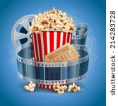 popcorn bowl  film strip and... | Shutterstock .eps vector #214283728