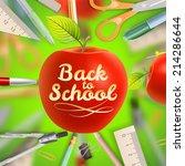 set of welcome back to school... | Shutterstock .eps vector #214286644