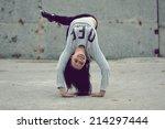 breakdance girl   Shutterstock . vector #214297444