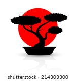 Silhouette Bonsai With Red Sun...