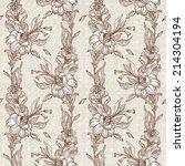 retro floral wallpaper | Shutterstock .eps vector #214304194