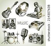 sketch music set. hand drawn... | Shutterstock .eps vector #214307638