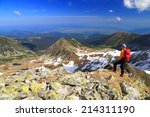 woman backpacker standing on... | Shutterstock . vector #214311190