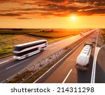 bus and truck in motion blur on