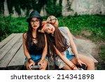 beautiful girl photographed in... | Shutterstock . vector #214341898
