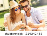 a picture of a young couple... | Shutterstock . vector #214342456