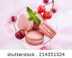 pink french macarons with fresh ... | Shutterstock . vector #214351324