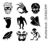 Stock vector set of ghost ghouls and alien icons depicting fear and horror with a mummy skeletal hand skull 214361599