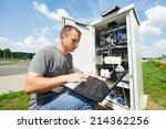 engineer working with laptop... | Shutterstock . vector #214362256