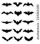 black silhouettes of bats ... | Shutterstock .eps vector #214363180