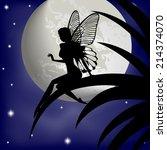 silhouette fairy girl on a... | Shutterstock .eps vector #214374070
