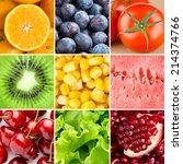 healthy fresh food background....   Shutterstock . vector #214374766