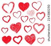 vector set of hand drawn hearts.... | Shutterstock .eps vector #214380250