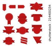 set of blue ribbons for... | Shutterstock .eps vector #214400254