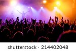 silhouettes of concert crowd in ... | Shutterstock . vector #214402048