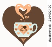 vector illustration with cup of ... | Shutterstock .eps vector #214402420