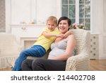 selected focus on dark haired... | Shutterstock . vector #214402708