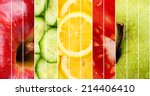 collection of healthy fresh... | Shutterstock . vector #214406410