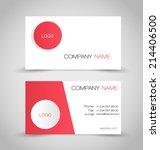 business card set template. red ... | Shutterstock .eps vector #214406500