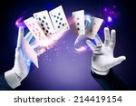 magician hands with magic cards | Shutterstock . vector #214419154