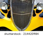 Black Vintage Car With Yellow...