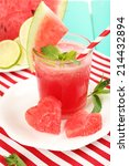 watermelon cocktail on table ... | Shutterstock . vector #214432894