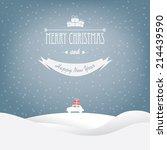 christmas landscape card design ... | Shutterstock .eps vector #214439590