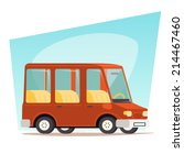 retro cartoon car family travel ... | Shutterstock .eps vector #214467460