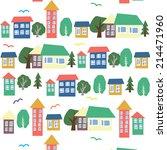 houses seamless pattern street  ... | Shutterstock .eps vector #214471960
