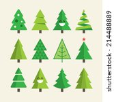 Stock vector christmas tree set 214488889