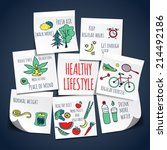 healthy lifestyle background  | Shutterstock .eps vector #214492186