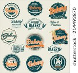 bakery retro labels collection | Shutterstock .eps vector #214492870