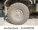 military truck tires. - stock photo