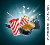 popcorn box  disposable cup for ... | Shutterstock .eps vector #214507093